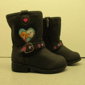 Paw Patrol Girls Black Zipper Boots